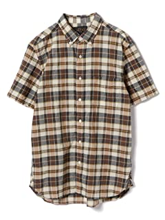 Short Sleeve Madras Buttondown Shirt 11-01-0736-139: Brown