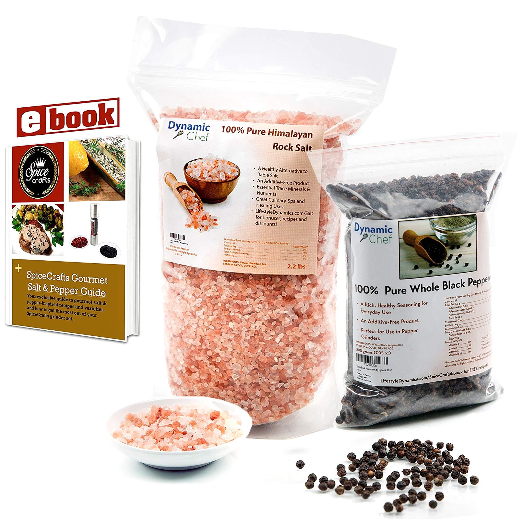 Himalayan Rock Salt, Black Peppercorns Tellicherry Bundle. 7oz Peppercorns, 1lb Pink Rock Salt
