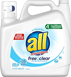 All Liquid Laundry Detergent Free Clear for Sensitive Skin, 141 Ounce, 94 Loads