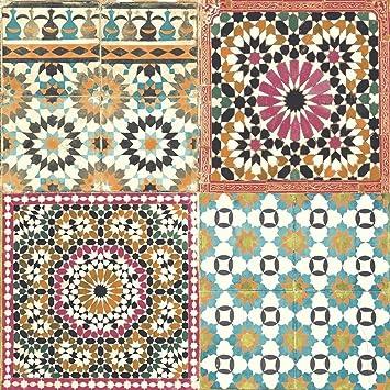 Papier Peint Carrelage Marocain Mediterraneen Retro Vintage
