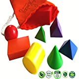 Skoolzy Geometric Shapes Preschool Learning Toys - Mini Geometric Solids Math Manipulatives | 3D Montessori Materials Geometry Set Homeschool Supplies