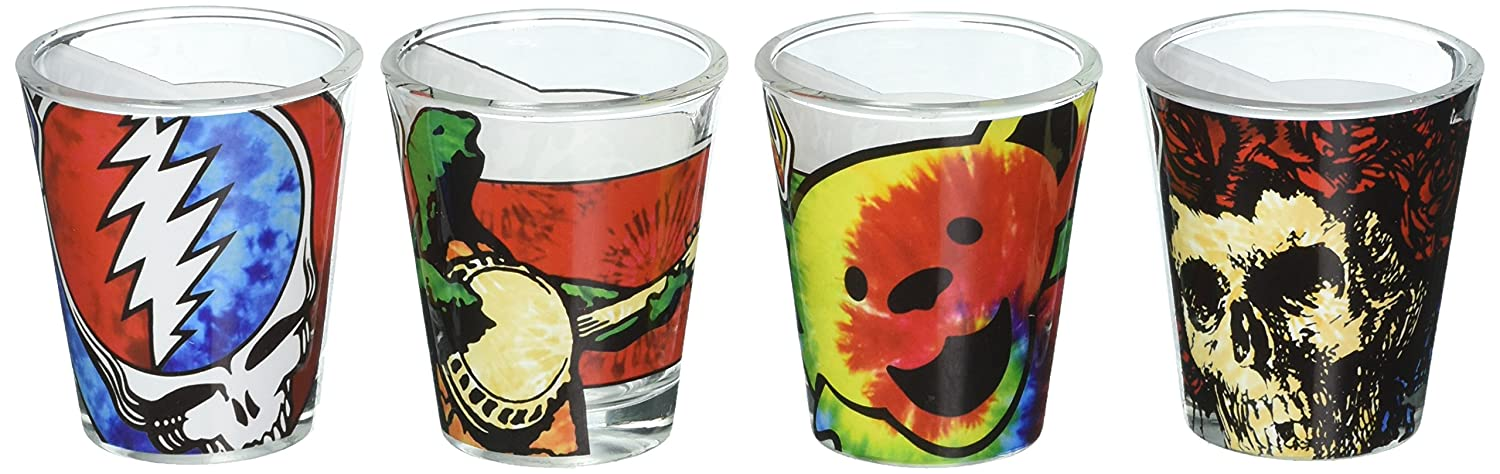 ICUP Grateful Dead Tie Dye Shot Glass Clear 34143 4 Pack