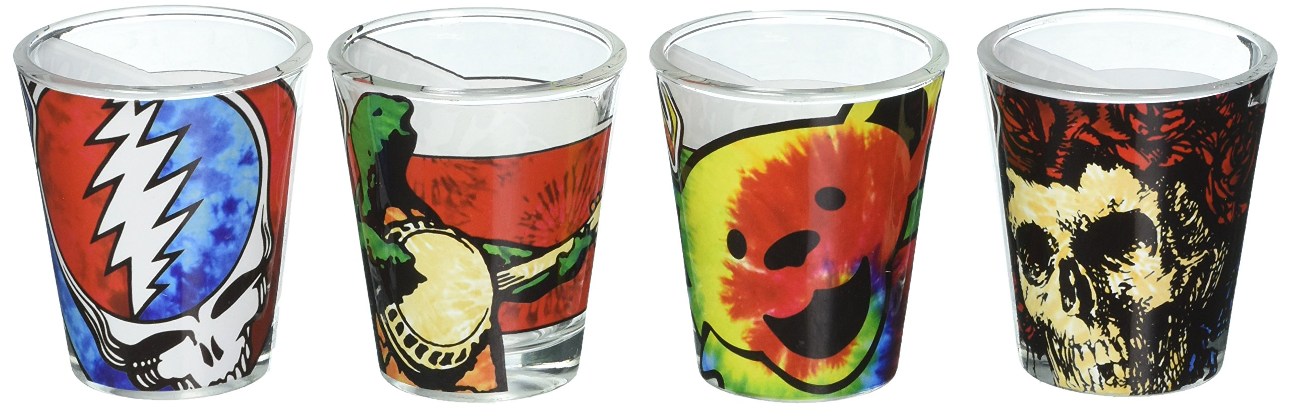 ICUP Grateful Dead Tie Dye Shot Glass (4 Pack), Clear