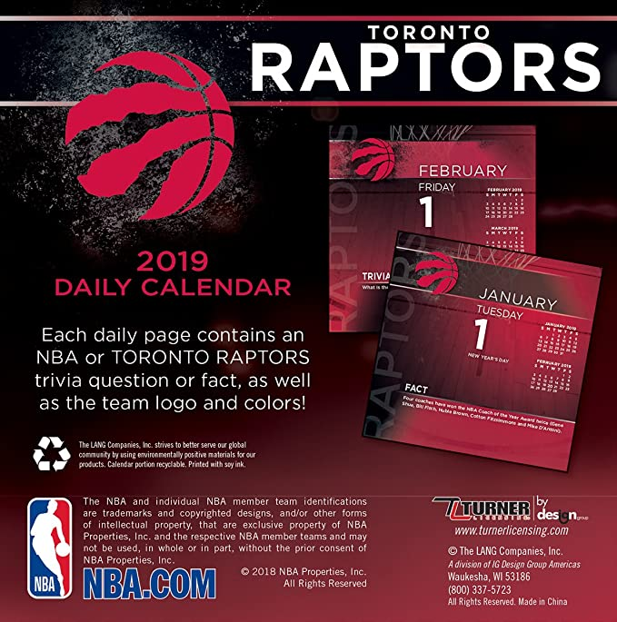 Amazon com: Turner 1 Sport Toronto Raptors 2019 Box Calendar