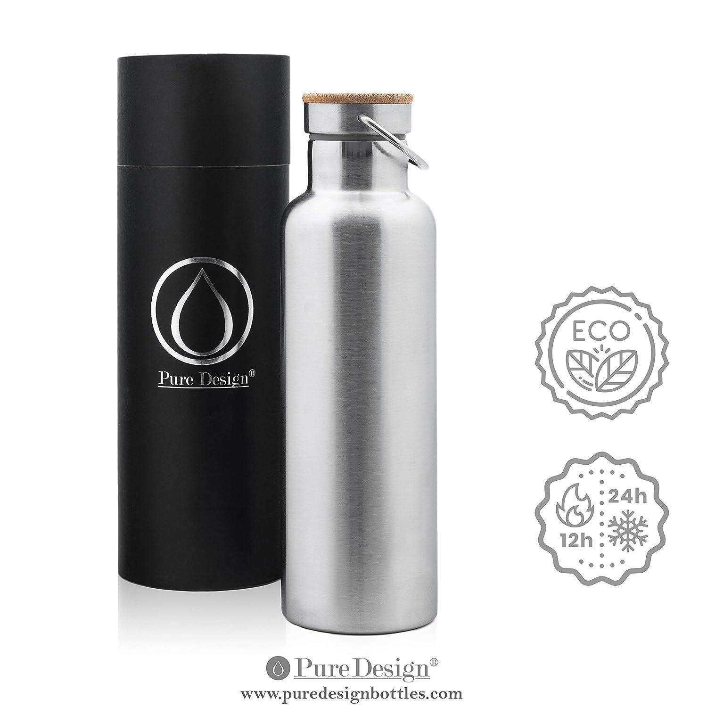 PureDesign Aislado & Normal Acero Inoxidable Botella 750 ML, 1000 ML, 500 ML - bambú Tapa, sin BPA, sin Logotipos. Botella de Agua 0.75L. Duración de 110% ...