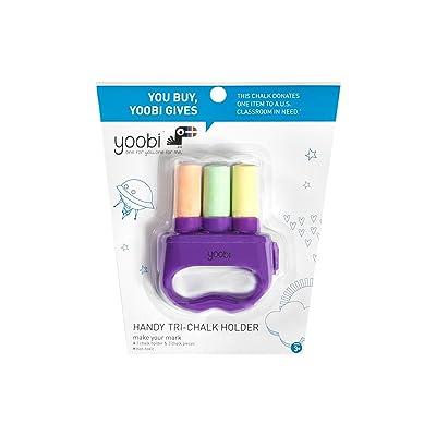 Yoobi Handy Tri-Chalk Holder with 1 Chalk Holder and 3 Chalk pc - Multicolor: Toys & Games