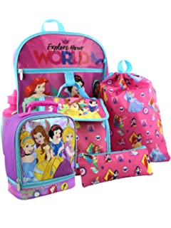 Disney Princess 6 piece Backpack and Dual Compartment Lunch Box School Set (Pink)
