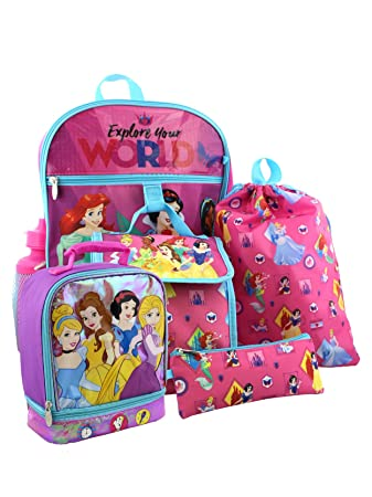 f9202645cf0 Amazon.com  Disney Princess 6 piece Backpack and Dual Compartment Lunch Box  School Set (Pink)  Yankee Toy Box LLC