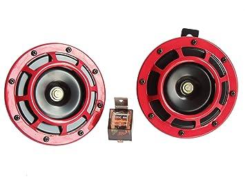 Claxon eléctrico para coche 12 V 135dB de tono alto y con kit de claxon doble con soporte para automóviles camiones SUV acople de motos Vans, barcos