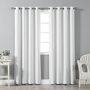 """Best Home Fashion Thermal Insulated Blackout Curtains - Stainless Steel Nickel Grommet Top - Vapor - 52"""" W x 96"""" L - (Set of 2 Panels)"""