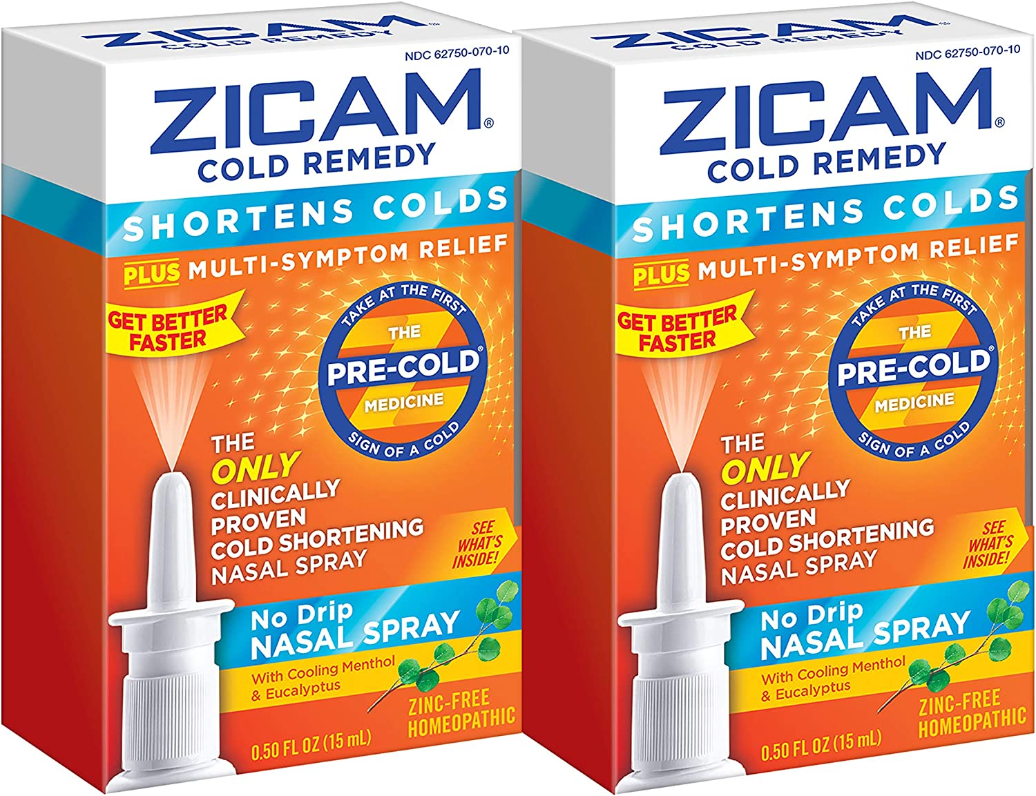 Zicam Cold Remedy No-Drip Nasal Spray with Cooling Menthol & Eucalyptus, 0.5 Ounce (Pack of 2)