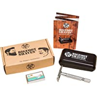 Bigfoot Shaves | Double Edge Single Blade Safety Razor Kit | Classic Razor | Smooth Shave without Razor Burns | Excellent Gift Idea | Includes: Travel Case, Mirror & Blades | Silver Razor