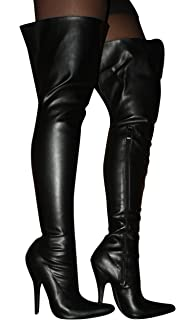 EROGANCE Faux Leather High Heels Overknee Boots Black / 3623L EU ...
