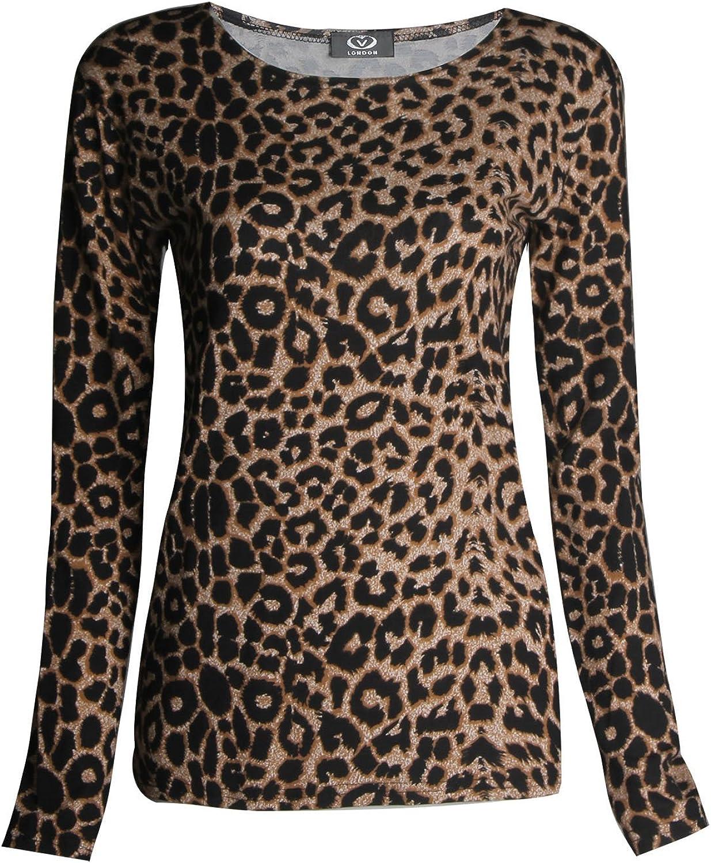 UK STOCK Women round Neck Ladies Leopard Print Long Sleeve T Shirt Tops Blouse