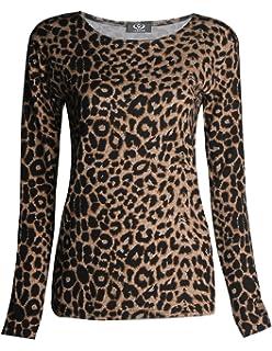 4d74335a342 GirlsWalk Women s Plus Size Long Sleeves Leopard Animal Print ...