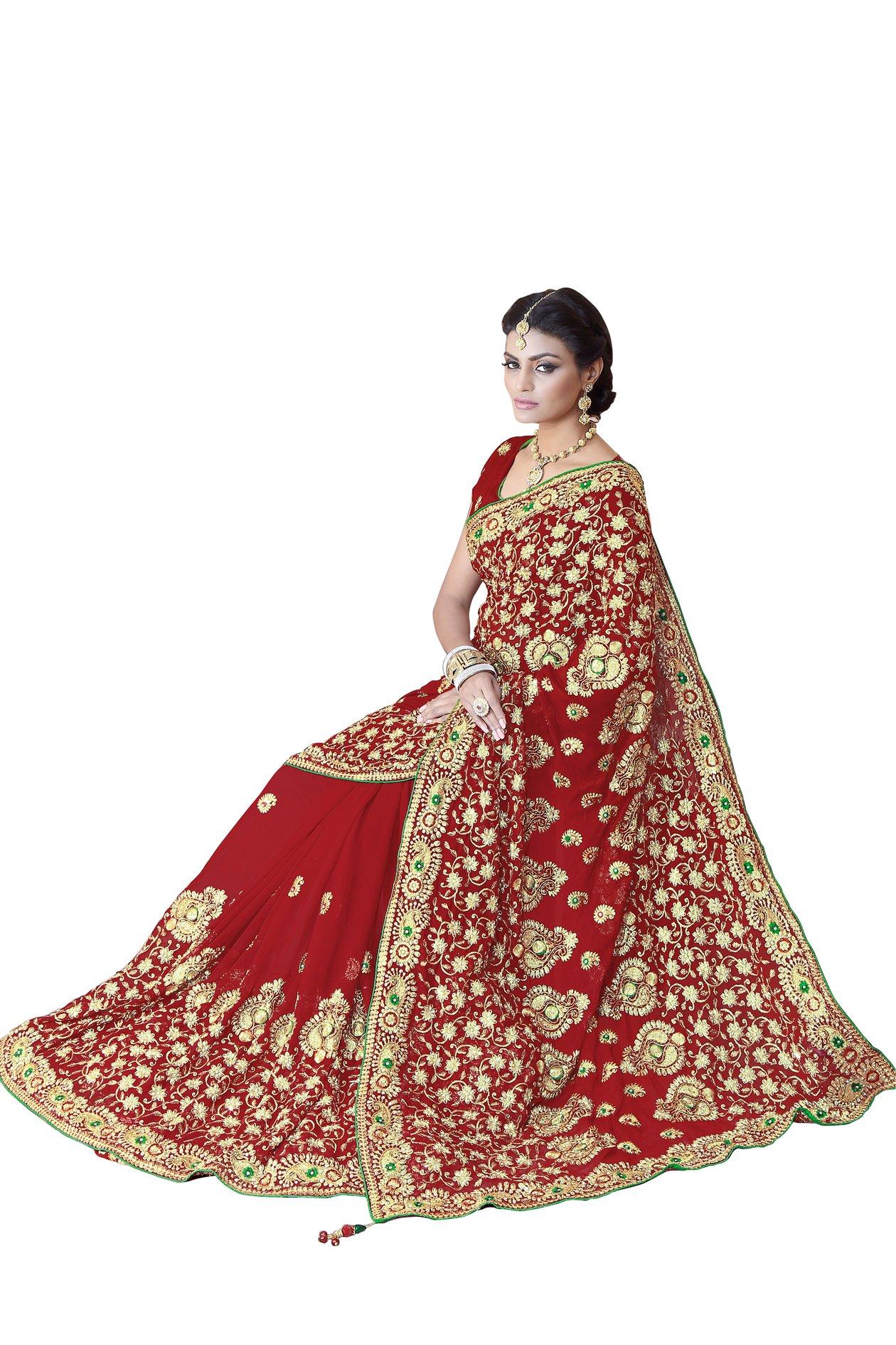 Sourbh Women FauxGeorgette Bridal Wedding Saree Mirchi Fashion Indian Sari(5243_Red)