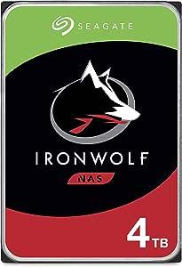 "Seagate IronWolf, 4 TB, NAS, Disco duro interno, HDD, CMR 3,5"" SATA 6 Gb/s, 5900 r.p.m., caché de 64 MB para almacenamiento conectado a red RAID, Paquete Abre-fácil (ST4000VNZ008)"