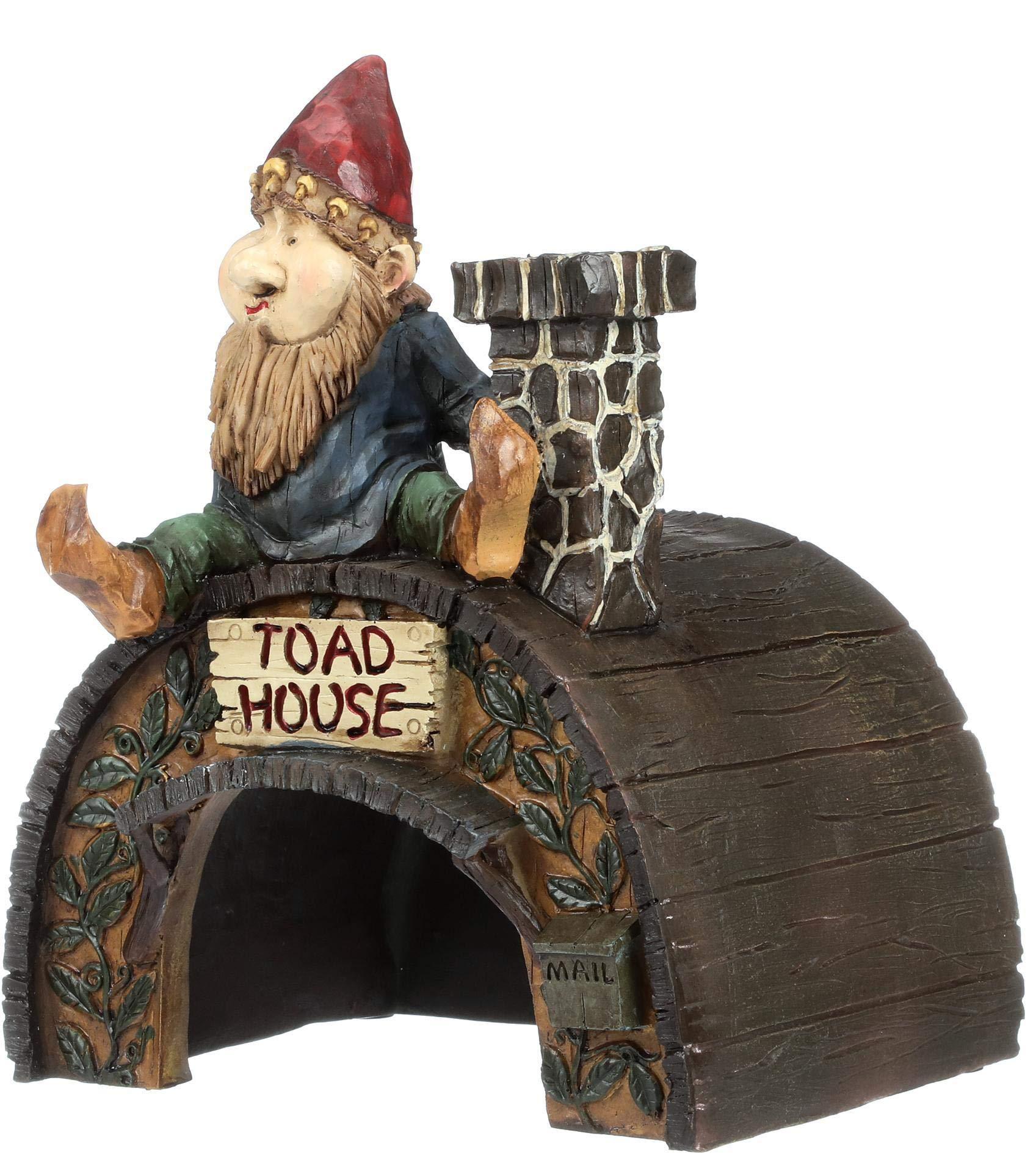 Garden Gnome Statue - Garden Gnome Toad House - Frog House - Fairy Garden - Gnome Village