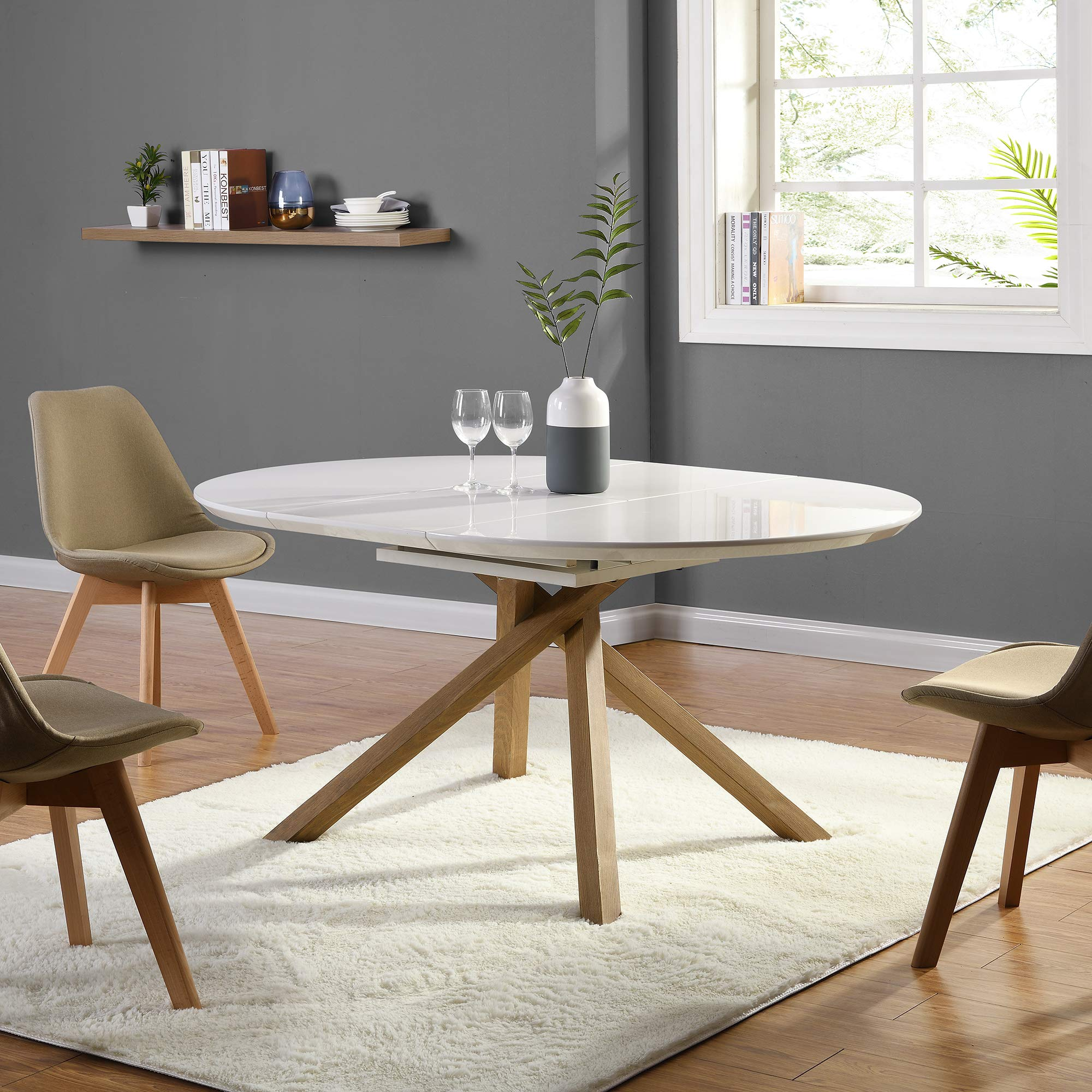Cherry Tree Furniture Grenchen Round To Oval 4 To 6 Seater White High Gloss Extendable Dining Table Buy Online In Mongolia At Mongolia Desertcart Com Productid 173537543
