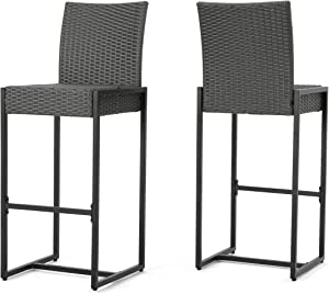 Christopher Knight Home Conrad Outdoor Wicker Barstools, 2-Pcs Set, Grey
