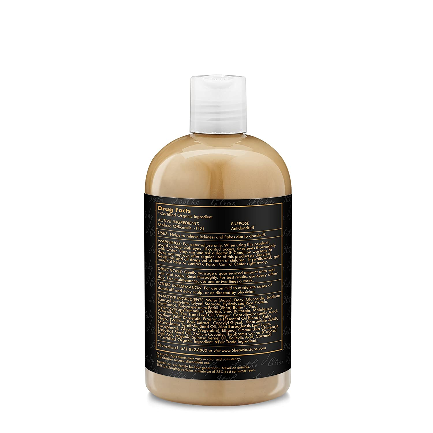 SheaMoisture African Black Soap Dandruff Control Unisex Profesional Champú 384ml - Champues (Unisex, Profesional, Champú, Cabello seco, 384 ml, Water (Aqua) ...