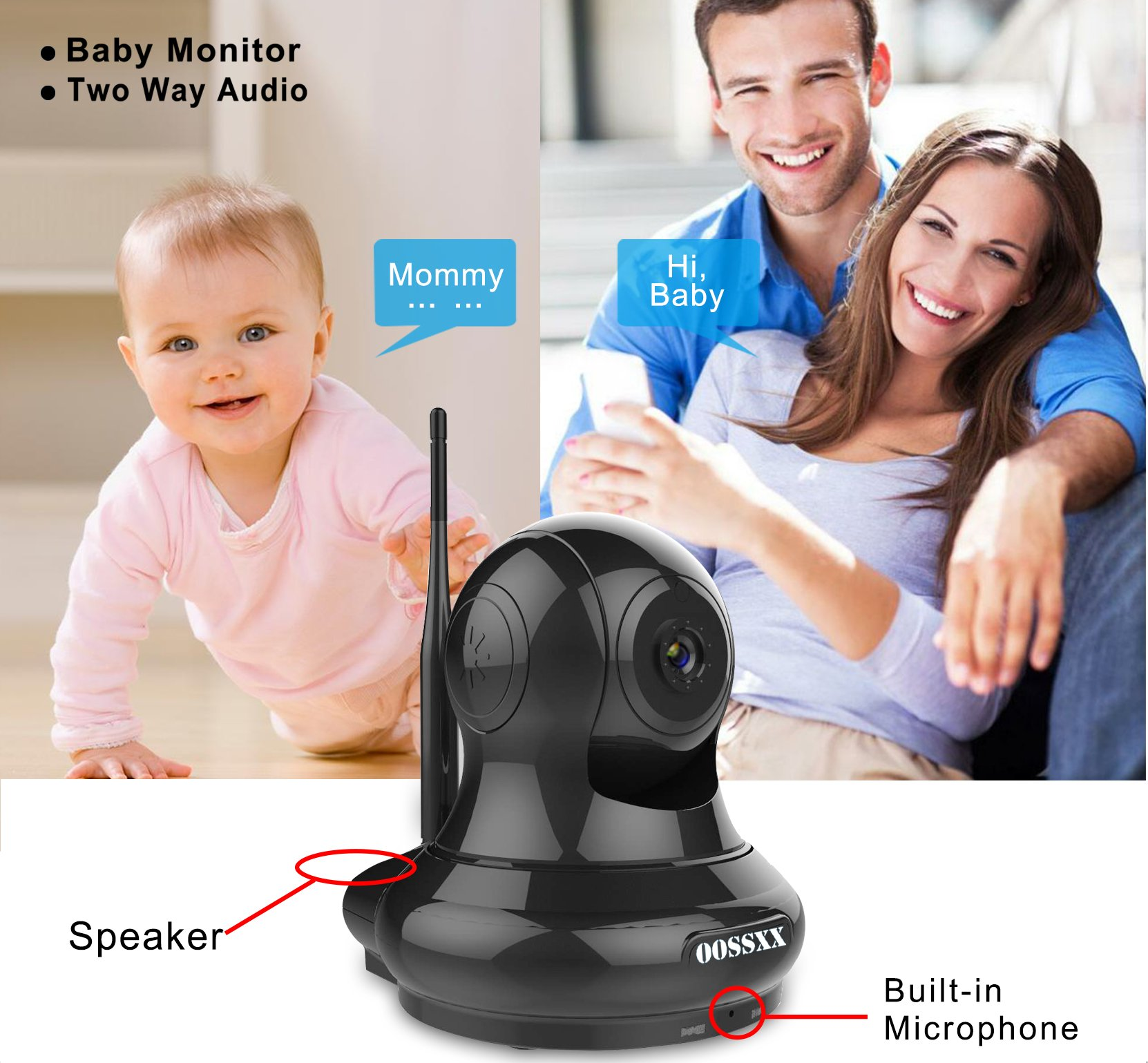1080P Home/Business Wireless IP Camera, OOSSXX HD Indoor Wireless Security Camera with Motion Detection, Two Way Audio, Pan/Tilt, Night Vision, Multi camera preview,for Baby Monitor, Nanny Cam,Pet Cam by OOSSXX (Image #5)
