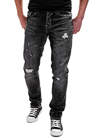 Merish Herren Jeanshose Destroyed Look Clubwear Slim