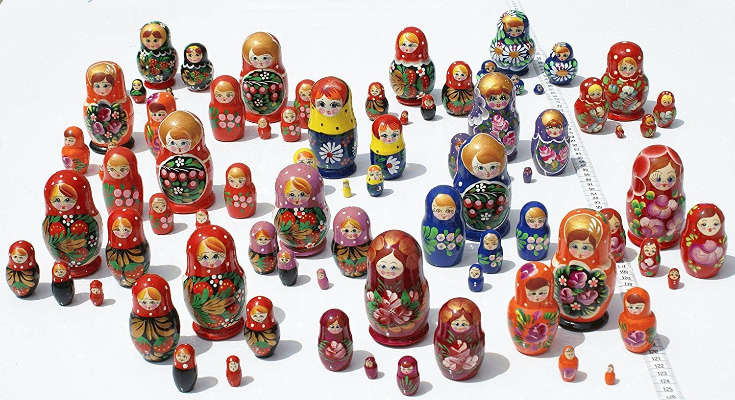 Set of 2 5-Pieces Cute Nesting Stacking Wooden Dolls Matryoshka Babushka Russian Art
