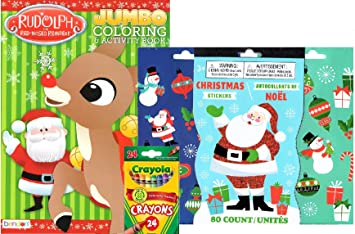 rudolph the red nosed reindeer and santa coloring book with stickers and crayola crayons makes