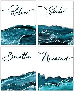 Teal Bathroom Wall Art Decor - Set of 4 Unframed Prints (8x10 Inch) Relax, Soak, Breathe, Unwind