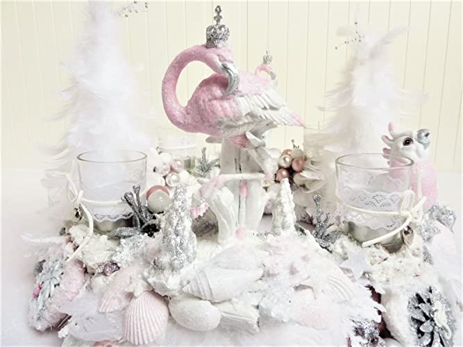 Adventskranz Pretty In Pink Flamingo Shabby Weiss Rosa Karibik Prunk