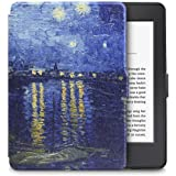 """Walnew the Thinnest and the Lightest Colorful Painting Leather Cover Case for Kindle Paperwhite (Fits All Versions: 2012, 2013, 2014 and 2015 All-new 300 PPI Versions)tablet with 6"""" Display and Built-in Light (For Kindle Paperwhite) (Blue Night)"""