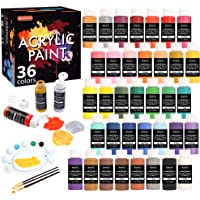 Acrylic Paint Set, Shuttle Art 36 Colors (60ml, 2oz) with 3 Brushes & 1 Palette, Craft Painting, Rich Pigments,Non-Toxic…