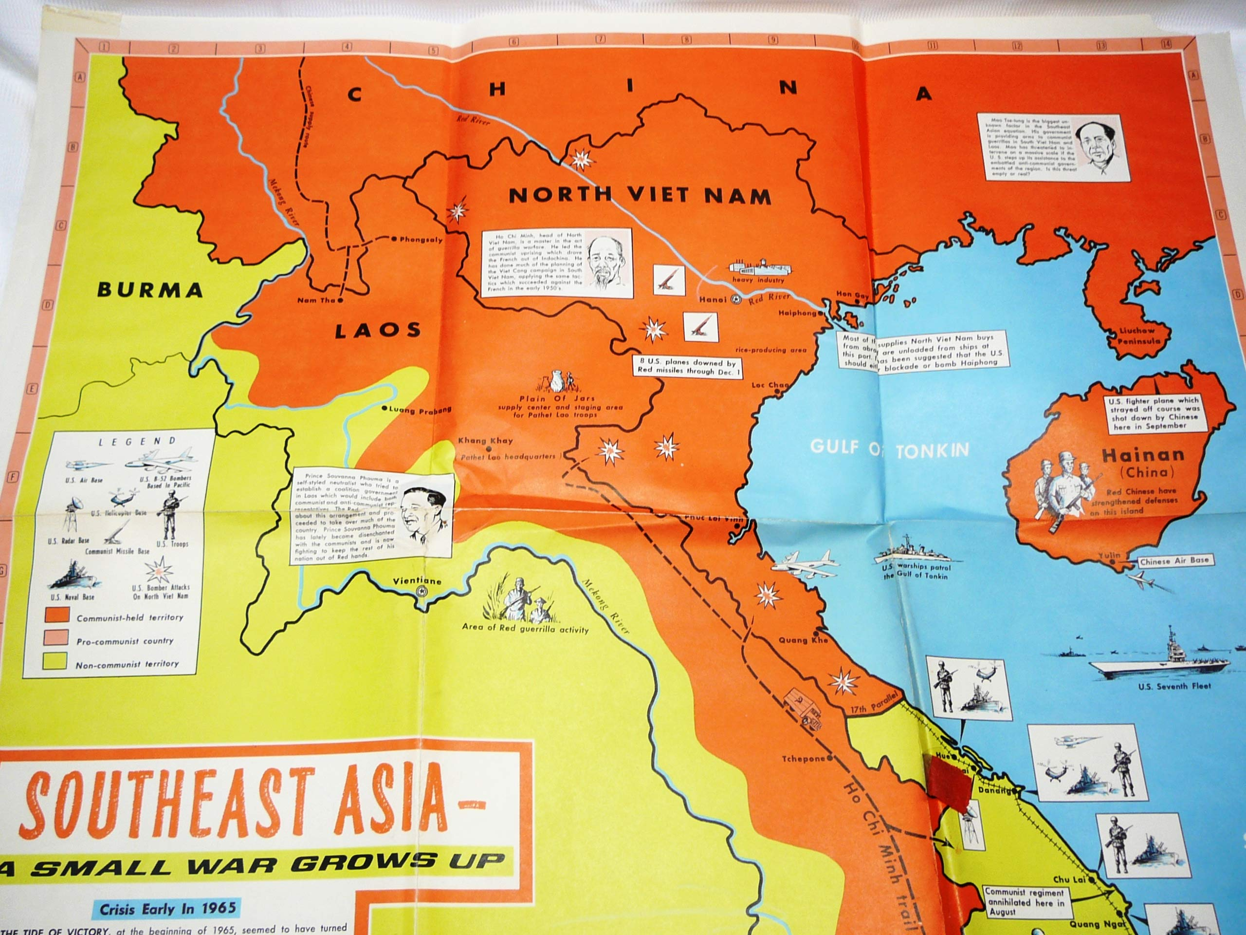 Map Of Asia During Vietnam War.Headline Focus Wall Map Southeast Asia A Small War Grows Up 1965
