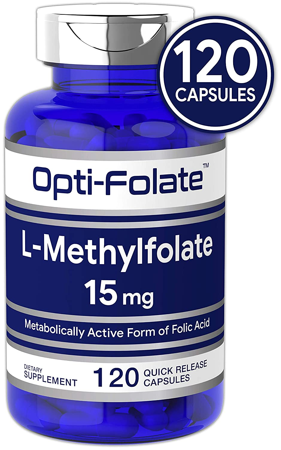 L Methylfolate 15mg 120 Capsules Value Size Max Potency Optimized and Activated Non-GMO, Gluten Free Methyl Folate, 5-MTHF by Opti-Folate