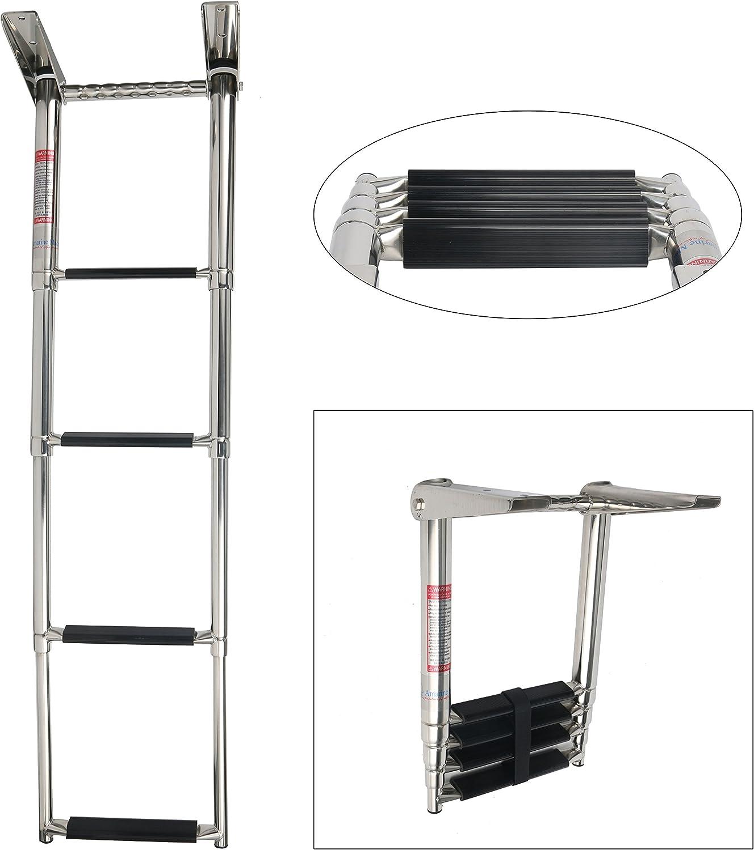 Escalera telescópica Amarine Made de cuatro peldaños inoxidable para bote con asa integrada: Amazon.es: Deportes y aire libre