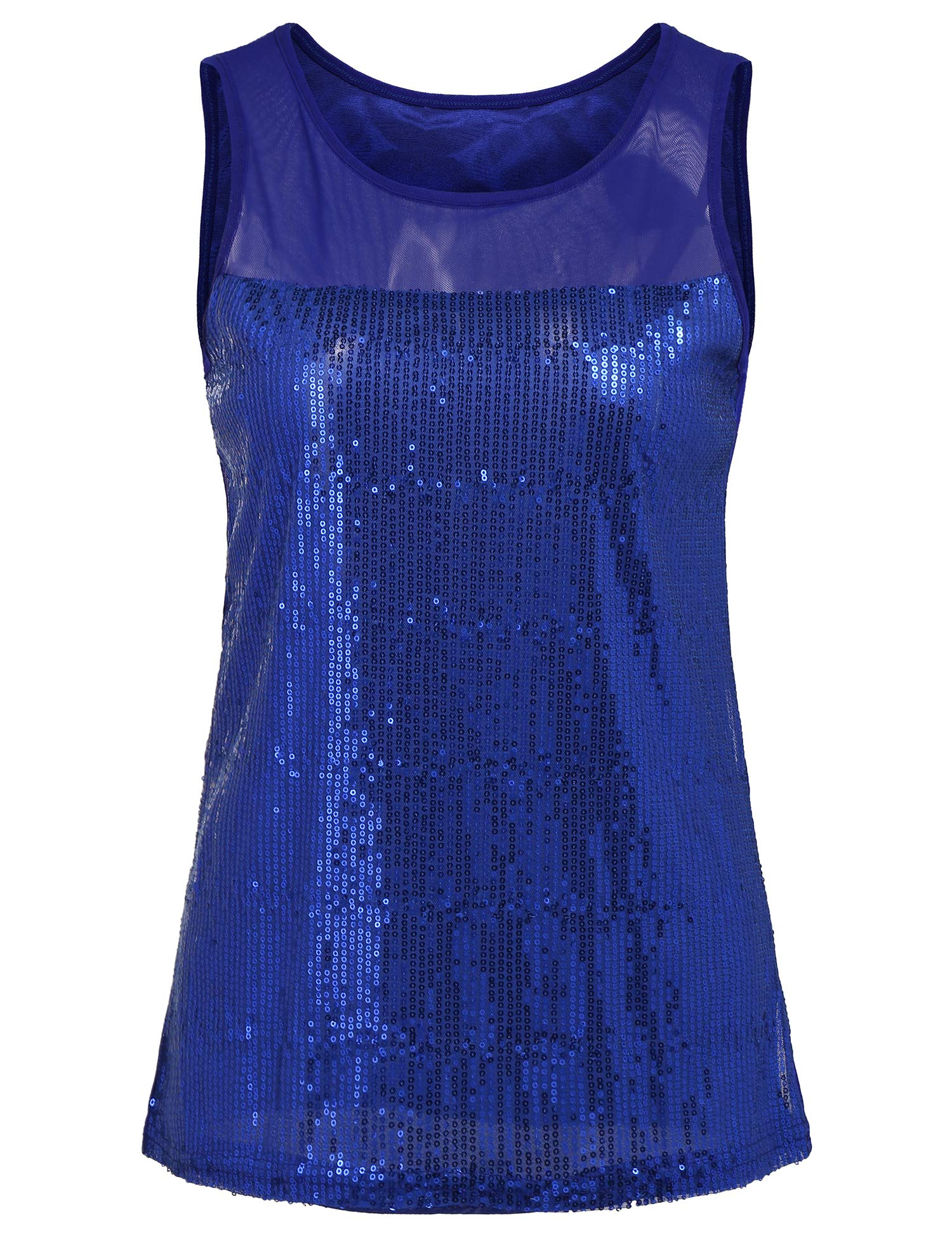 67666fdb244caa Womens Shimmer Glam Sequin Embellished Sparkle Tank Top Vest Tops  Sleeveless Casual Blouse (Royal Blue