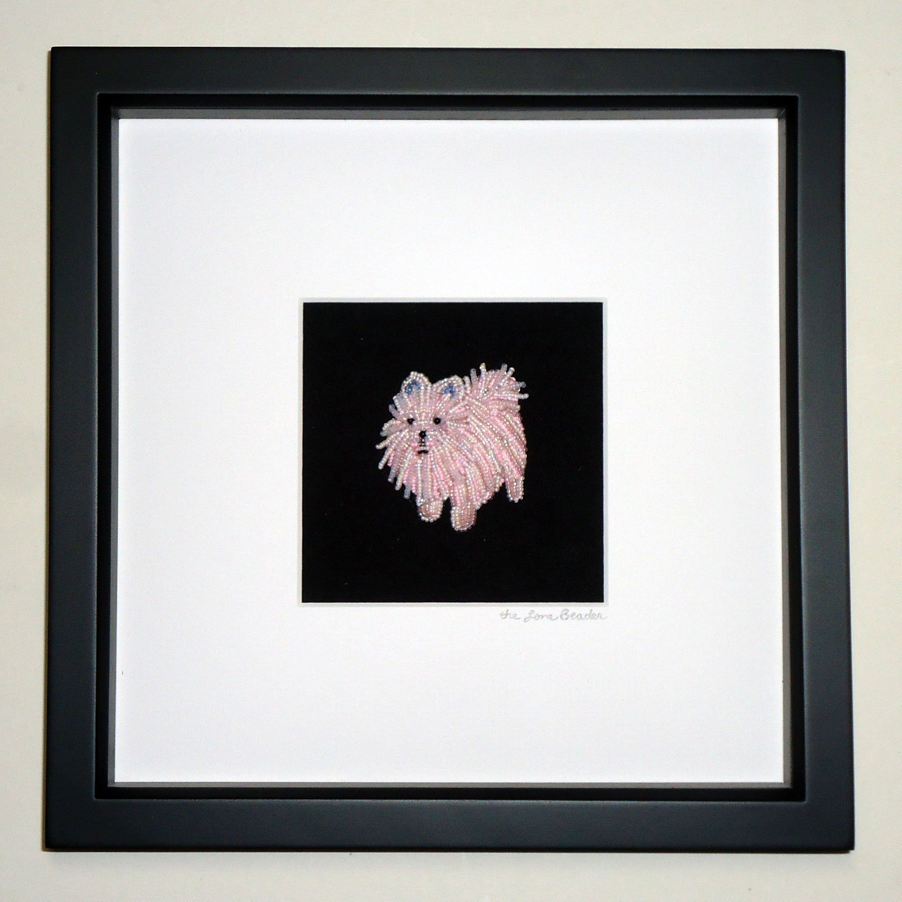 Pink or White POMERANIAN Beaded Mini Pet Portrait- Framed Dog Art- 8x8 shadowbox (Made to Order) (e)