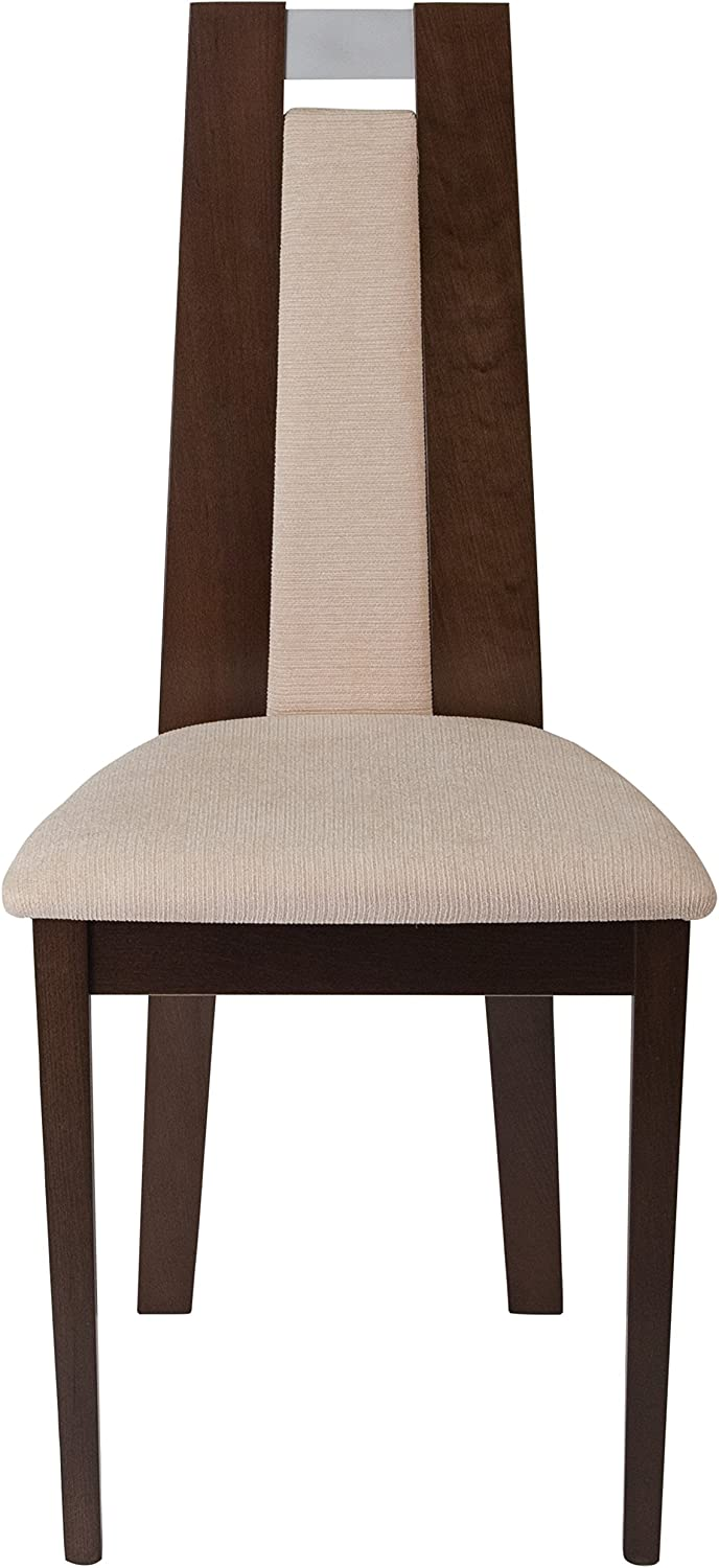 Flash Furniture 2 Pk Quincy Espresso Finish Wood Dining Chair with Curved Slat Wood and Beige Fabric Seat
