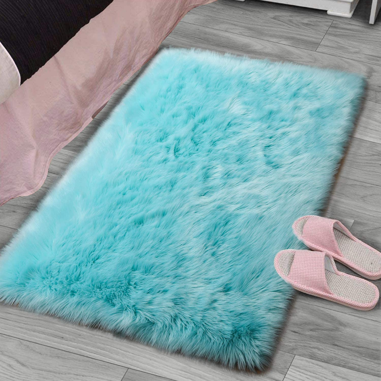 YJ.GWL Super Soft Faux Sheepskin Fur Area Rugs for Bedroom Floor Shaggy Plush Carpet Faux Fur Rug Bedside Rugs, 2 x 3 Feet Rectangle Blue