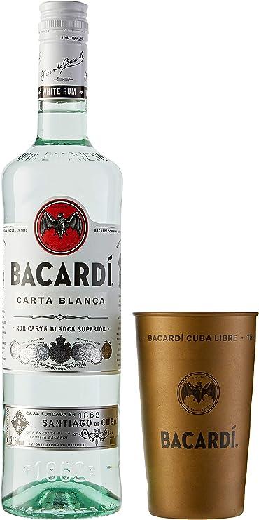 Bacardi Ron Premium Blanco con Vaso de Regalo, 700ml
