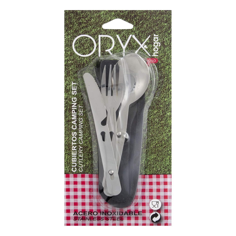 Oryx 5058010 set cubiertos acero inoxidable camping 3 piezas con funda de poliester