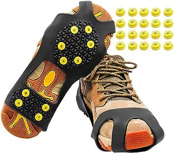Empuñaduras de nieve para hielo y nieve, agarre antideslizante para botas y zapatos, crampones antideslizantes de invierno con 20 tachuelas de ...