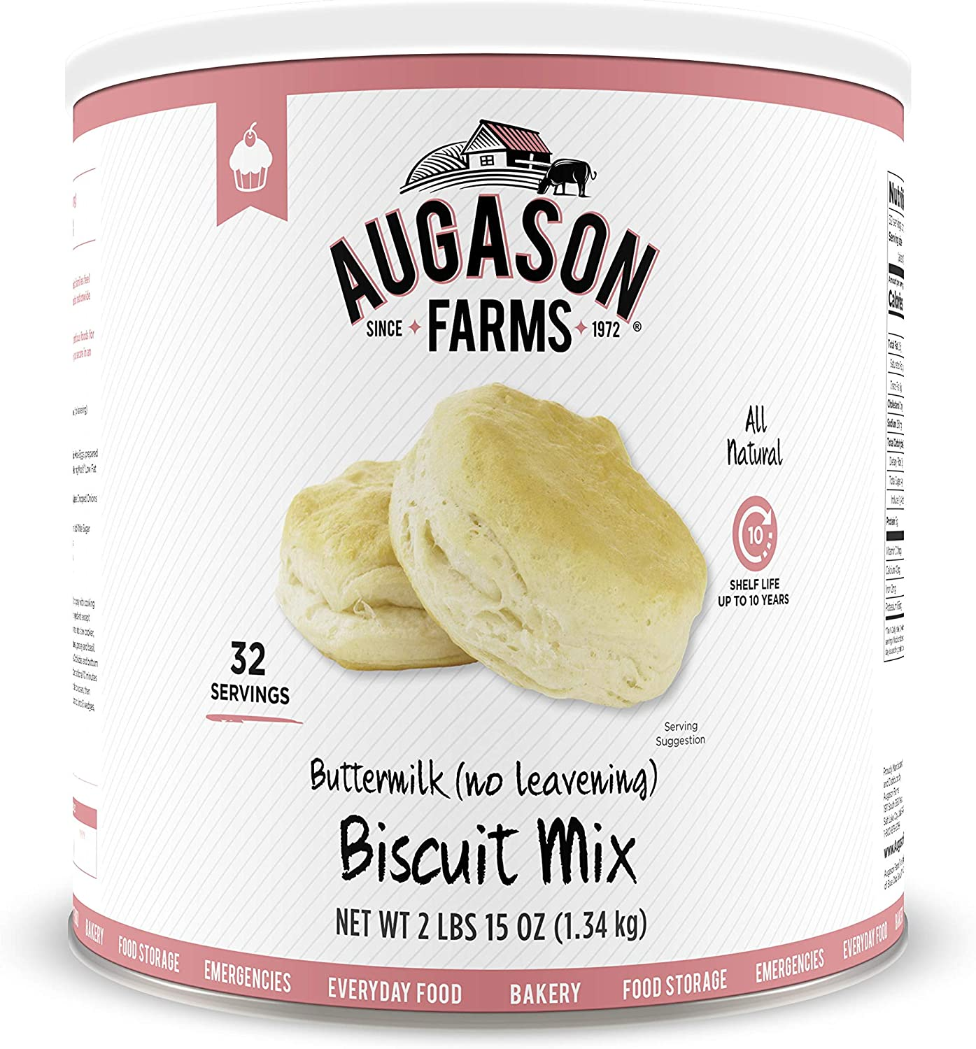 Augason Farms Buttermilk (No Leavening) Biscuit Mix 2 lbs 15 oz No. 10 Can