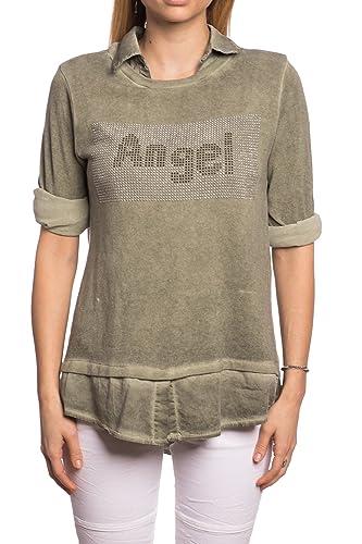 Abbino 8197-10 Camisetas Tops para Mujeres - Hecho en ITALIA - 8 Colores - Primavera Verano Camiseta...