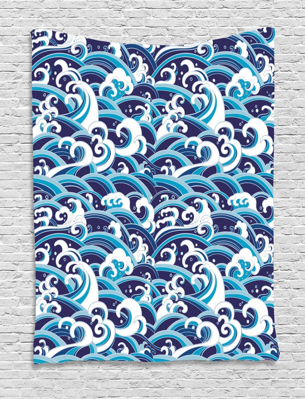 ABAKUHAUS Ola Japonesa Tapiz de Pared, Agua Splash Espuma, para el Dormitorio Apto Lavadora y Secadora Estampado Digital, 150 x 200 cm, Azul Pálido Azul Blanca