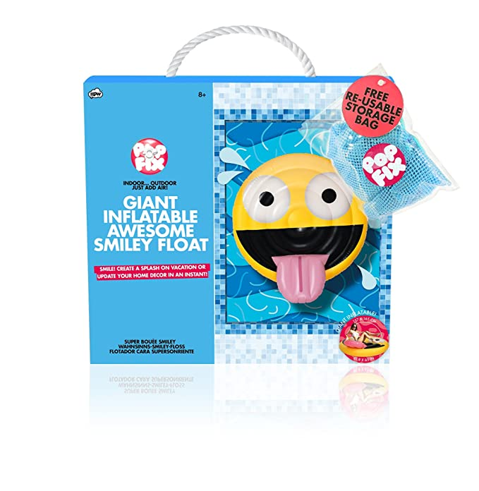 Amazon.com: NPW Pop Fix Giant Inflatable Awesome Smiley Emoji Float: Toys & Games