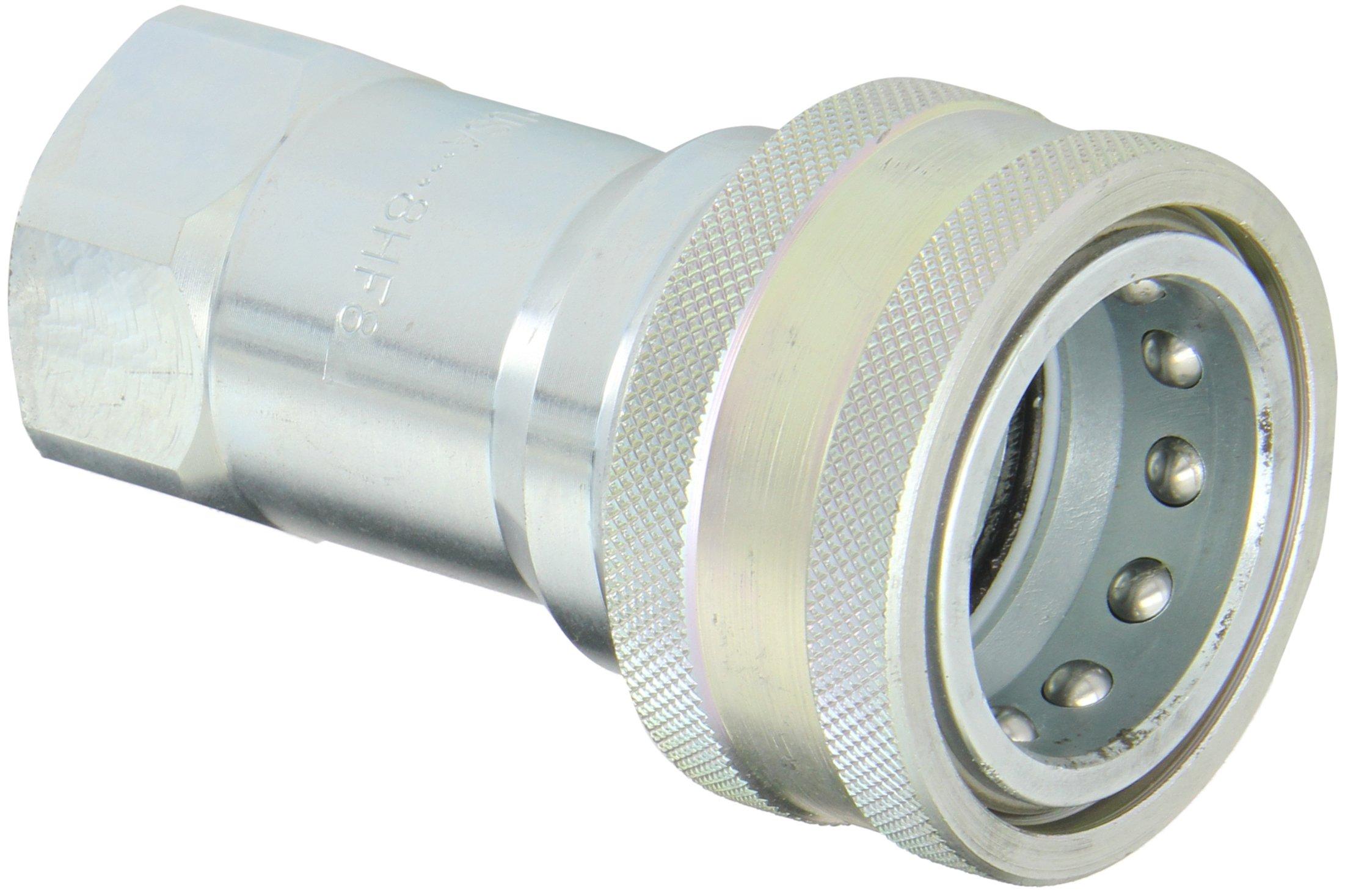 Dixon Valve & Coupling 8HF8 Steel ISO-B Interchange Hydraulic Fitting, Coupler, 1'' Coupling x 1'' - 11-1/2 NPTF Female Thread