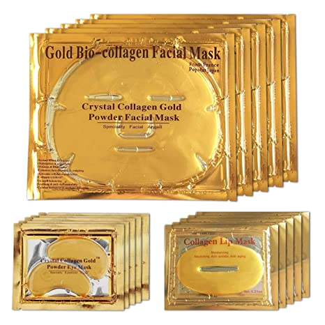 Mascarilla facial de gel de oro de 24 quilates, mascarilla para los ojos, mascarillas
