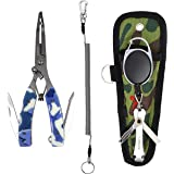 SAMSFX Locking Fishing Pliers Saltwater Resistant Teflon Coated Briad Line Cutters with Wire Coiled Lanyard, Sheath & Quick Knot Tool Combo